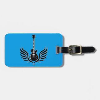 rock and roll electric guitar wings luggage tag