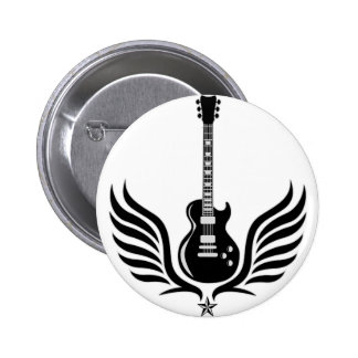 rock and roll electric guitar wings pinback button