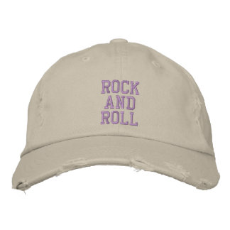 ROCK AND ROLL EMBROIDERED BASEBALL HAT