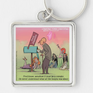 Rock And Roll Fred Funny Silver-Colored Square Keychain