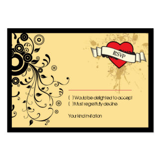 Rock and Roll Grungy Heart (Brown) RSVP Card Large Business Cards (Pack Of 100)