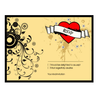 Rock and Roll Grungy Heart (Brown) RSVP Postcard