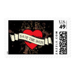 Rock and Roll Grungy Heart (Brown) Save the Date Postage Stamps