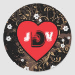 Rock and Roll Grungy Heart (Brown) Seal Classic Round Sticker