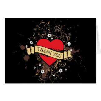 Rock and Roll Grungy Heart (Brown) Thank You Greeting Cards