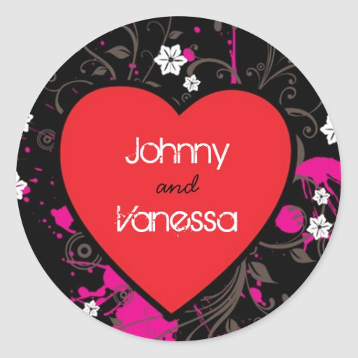 Rock and Roll Grungy Heart (Pink) Classic Round Sticker