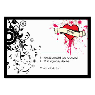 Rock and Roll Grungy Heart (Pink) RSVP Card Large Business Cards (Pack Of 100)