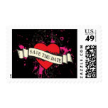 Rock and Roll Grungy Heart (Pink) Save the Date Postage Stamp