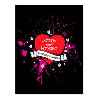 Rock and Roll Grungy Heart (Pink) Wedding Postcard