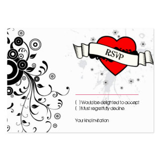 Rock and Roll Grungy Heart (Red) RSVP Card Large Business Cards (Pack Of 100)