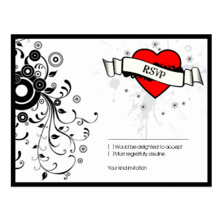 Rock and Roll Grungy Heart (Red) RSVP Postcard