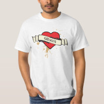 Rock and Roll Grungy Heart T-Shirt