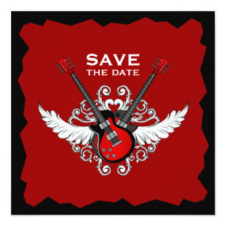 Rock and Roll Guitars Save the Date invitation