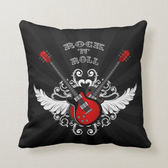 Rock and Roll Guitars Vintage Black Red Throw Pillow