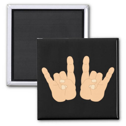 Rock and Roll Hand Sign Fridge Magnet