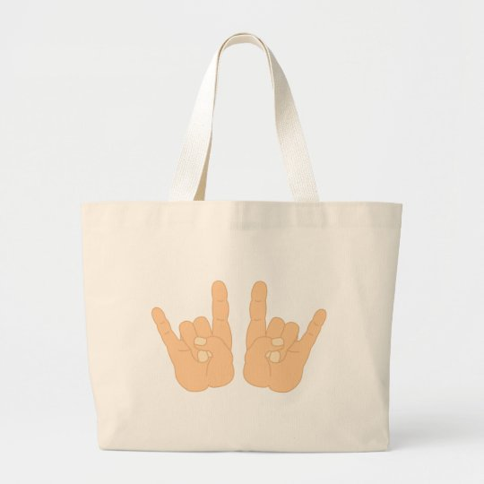 Rock and Roll Hand Sign Large Tote Bag