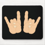Rock and Roll Hand Sign Mousepads