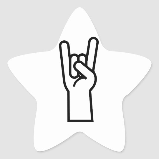 Rock and Roll Hand Star Sticker