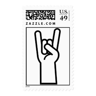 Rock and Roll Hand Symbol Postage Stamp