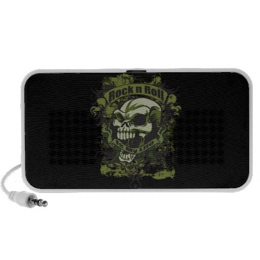 Rock and Roll is My Life Skull Doodle Speaker Travel Speaker