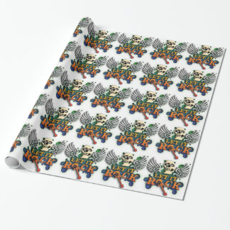 rock and roll let it rock skull gift wrap paper