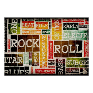 Rock and Roll Music Poster Art as Background
