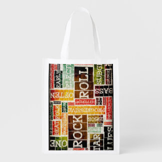 Rock and Roll Music Poster Art as Background Grocery Bag