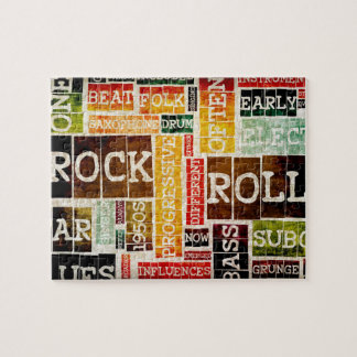 Rock and Roll Music Poster Art as Background Jigsaw Puzzle