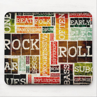Rock and Roll Music Poster Art as Background Mouse Pad