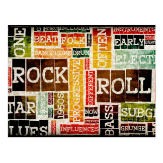 Rock and Roll Music Poster Art as Background Postcard