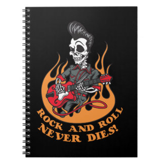 Rock And Roll Never Dies Skeleton Guitar Note Book