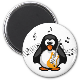Rock and Roll Paddy Cartoon Penguin with Guitar 2 Inch Round Magnet