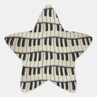 Rock And Roll Piano Keys Star Sticker