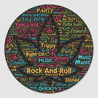 Rock and Roll Pot Leaf Word Art Classic Round Sticker
