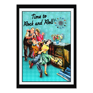 Rock and Roll Retro Jukebox Party Custom 5x7 Paper Invitation Card