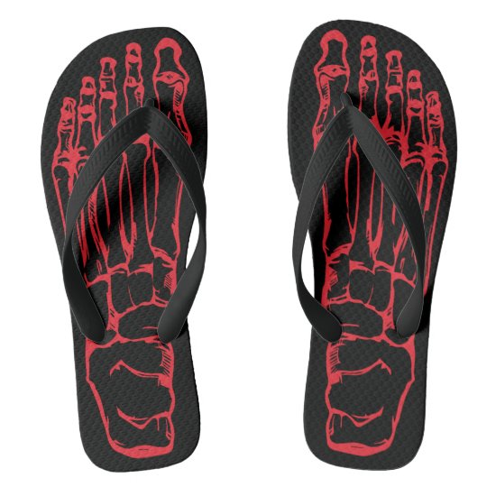 Rock And Roll Skeleton Bone Flip Flops