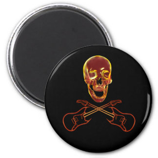 Rock and Roll Skull 2 Inch Round Magnet