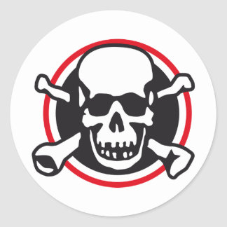 rock and roll skull classic round sticker