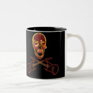 Rock and Roll Skull Two-Tone Coffee Mug
