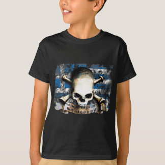 rock and roll skull with flag T-Shirt