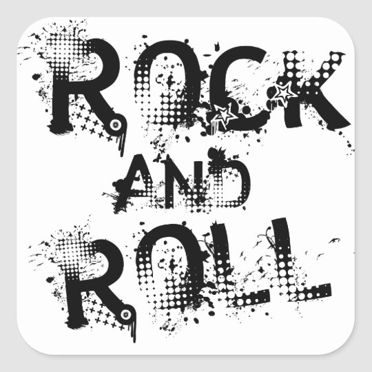 Rock and Roll Square Sticker
