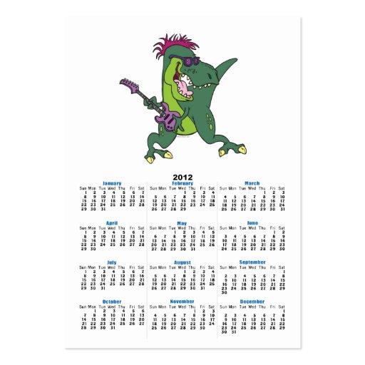 rock and roll t-rex cartoon business cards