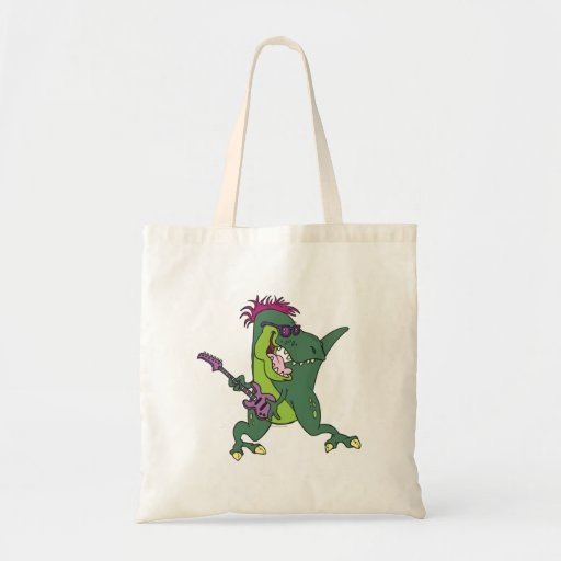 rock and roll t-rex cartoon canvas bags