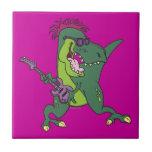 rock and roll t-rex cartoon ceramic tile