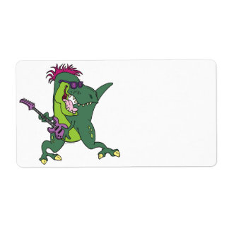 rock and roll t-rex cartoon label