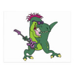 rock and roll t-rex cartoon post cards