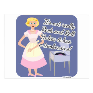 Rock and Roll Tambourine Fifties Housewife Postcard