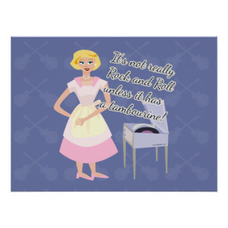 Rock and Roll Tambourine Fifties Housewife Poster