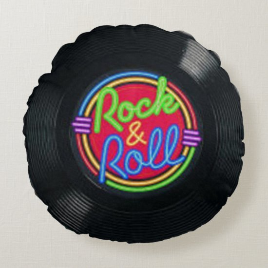 Rock and Roll Vintage Vinyl Throw Pillow