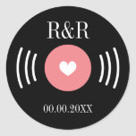 Rock and roll vinyl record wedding favor sticker